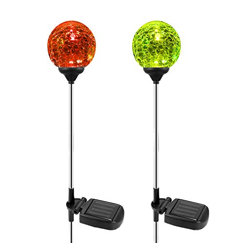 Solar Garden Path Lights Outdoor, 2-Pack of OxyLED Solar Globe Light Stakes, Color-Changing LED Garden Light Landscape Lighting, Auto On/Off Dusk to Dawn, Solar Powered Halloween Christmas Decor