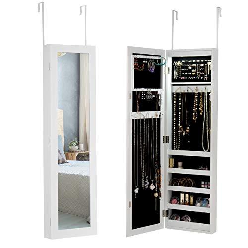 COSTWAY Schmuckschrank mit LED, Schmuckregal hängend für Tür und Wandmontage, Ganzkörperspiegel weiß