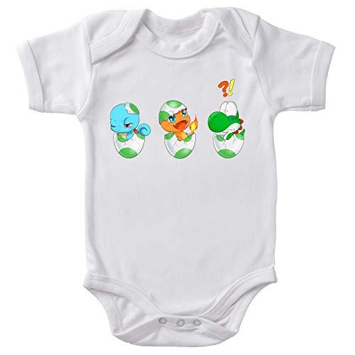 OKIWOKI Yoshi - Pokémon Lustiges Weiß Baby Strampler - Yoshi, SCHIGGY und GLUMANDA (Yoshi - Pokémon Parodie) (Ref:885)