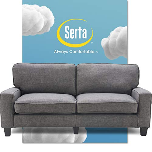 Serta Palisades Upholstered Sofas for Living Room Modern Design Couch, Straight Arms, Soft Fabric Upholstery, Tool-Free Assembly, 78', Gray