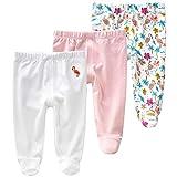 Pack de 3 Pantalones para Bebé Niñas Leggings con Pies de Algodón Pantys, 6-12 Meses