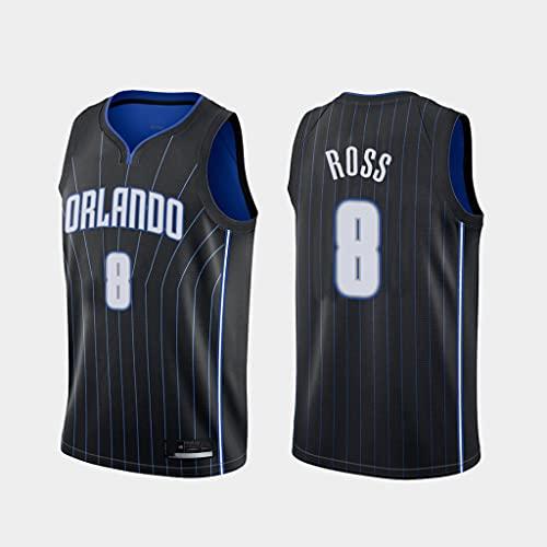 GLACX Ropa de Baloncesto de los Hombres Orlando Magic 8# Ross New Bordado Bordado Chaleco sin Mangas Camiseta Unisex,XXL