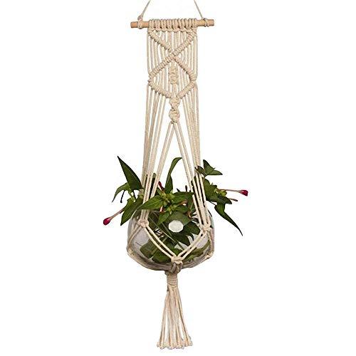 BIKITIQUE 1er Set Makramee Blumenampel Baumwollseil Hängeampel Blumentopf Pflanzen Halter Aufhänger für Innen Außen Decken