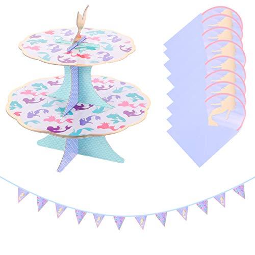 Amosfun 1 juego de decoración para fiestas de sirena con banderines de cartón para cupcakes, soporte bajo el mar, decoración para fiestas de bebé, Suppiles para fiestas de cumpleaños