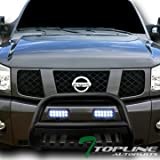 Nissan Off-Road Bumpers - Topline Autopart Matte Black Bull Bar Brush Push Bumper Grill Grille Guard With Skid Plate + 36W CREE LED Fog Lights For 04/05-15 Nissan Titan/Armada