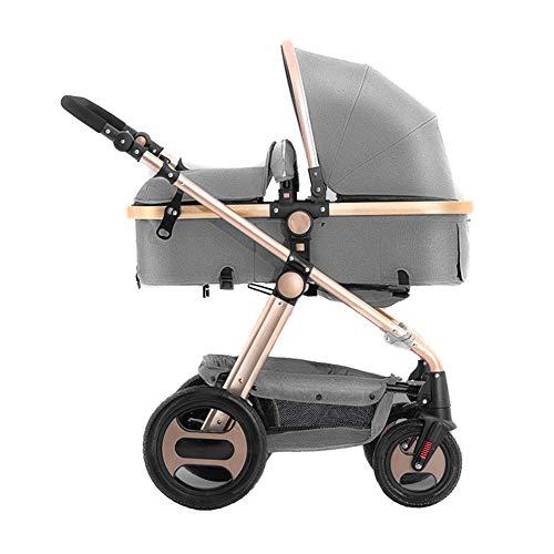 GKBMSP Kinderwagen 2 in 1 Zwei-Wege-Hochformat-Kinderwagen mit umkehrbarer Korbwiege Abnehmbarer Handlauf Leichtgewichtig faltbar 360 ° Richtungsvorderrad Geeignet für 0-36 Monate Baby