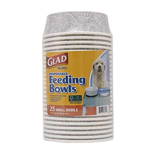 Glad for Pets Disposable Feeding Bowls   Small Dog Bowls in Gray Pattern   1.75 Cup Feeding Size, 25 Count - Dog Bowls are Great for Dry and Wet Dog Food or Water