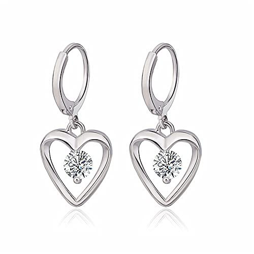 XinLuMing Damas Pendientes Pendientes Corazón Zirconia Cristal 30 mm En Forma de corazón Pendientes de circón (Color : Silver)