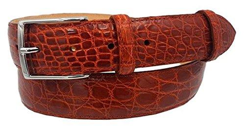 ESPERANTO Cintura uomo in vero fianco di coccodrillo, fodera vera pelle cuoio nabuk fibbia nichel free - altezza 4 cm (Aragosta, Tg 52- LUNG TOTALE 120 CM-GIROVITA 105 CM)
