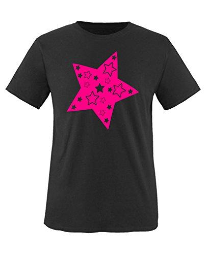 Comedy Shirts - Stern - Mädchen T-Shirt - Schwarz/Pink Gr. 152-164