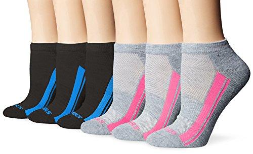 Skechers Women's 1/2 Terry Low Cut Athletic Sock 6-Pack, Grey/Black, 9-11