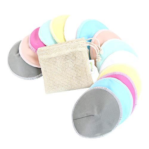 Bamboo Nursing Pads (14 Pack) + Laundry Bag & Travel Storage Bag, Size: 4.7 inch Option - Contoured Washable & Reusable Breast/Breastfeeding Pads (Elegant, Large, Contoured Shape)