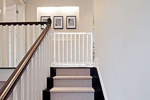 Safetots Top of The Stairs Screw Fitted Stair Gate (White Wooden)