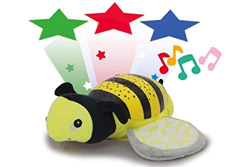 Jamara 460429 Sternenlicht Dreamy Biene Sternenhimmel Projektion, Stern-/ Mondmuster, LED wechselnde Farben, beruhigende Melodien, Licht EIN/aus, Abschaltautomatik, gelb