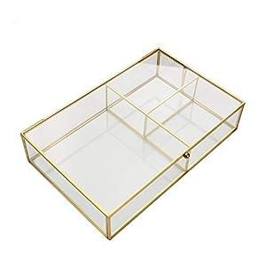 Zhichy Joyero, organizador de joyas de cristal transparente geométrico para mesa, contenedor de plantas suculentas, almacenamiento de joyería para el hogar