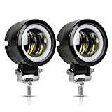 40W LED Auxiliary light 2PCS 3'' Motorcycle LED Fog Driving Running Lights with DRL Angel Eye 6000K White Spot Lighting Off-road Vehicle Marine Work Light, 2 Years Warranty (2PCS,Blue Halo)