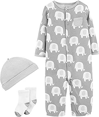 Carters Baby Unisex 3-pc. Elephant Layette Set 6 Months Grey/White