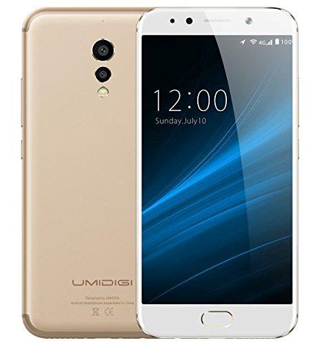 UMIDIGI S - 5,5 Zoll FHD Bildschirm Metallic Unibody Android 7.0 4G Smartphone, Helio P20 Octa Core 2.3GHz 4GB RAM 64GB ROM, Triple DSLR Kameras (5MP + 5MP + 13MP) - Gold