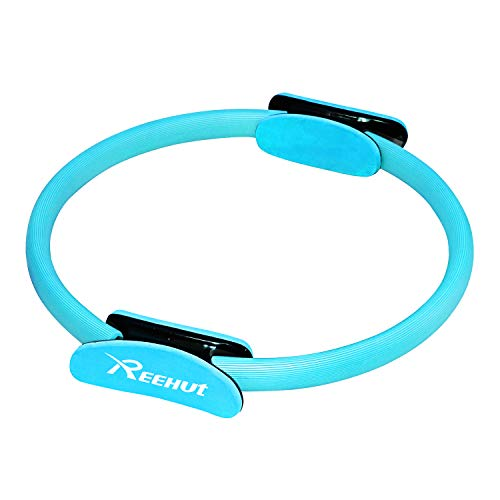 """REEHUT Pilates Ring, 14"""" Power Magic Circle, Superior Unbreakable Pilates Resistance Ring with Dual Grip Handles for Full Body Toning, Exercise and Fitness (Blue)"""