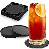 COTTONIX Posavasos de Silicona Redondos Juego de 8 con Base, para Bebidas, Vasos, Bar, Vidrio, Apto para Lavavajillas y Antideslizante (Negro)