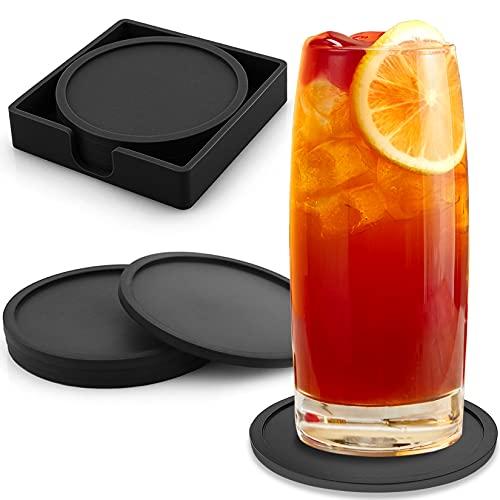COTTONIX Untersetzer Gläser 8er Set, Glasuntersetzer in Schwarz, Silikon Untersetzer Tischschutz für Getränke, Bar, Tassen - Tassenuntersetzer Getränkeuntersetzer Leicht zu Reinigen und rutschfest