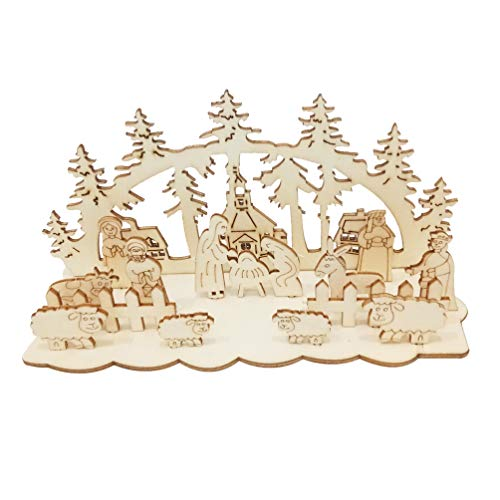 EXCEART 3 Sets Natividad Navidad Adorno de Madera Escena de La Natividad Bricolaje Soporte de Estatuilla sin Pintar Cartel de Mesa Centro de Mesa para La Oficina en Casa Fiesta de