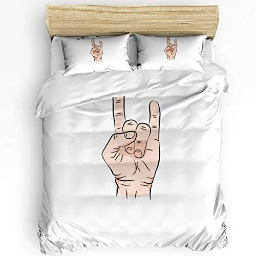USOPHIA Duvet Cover Queen Size Rock Gesture Ultra Soft Comfy 4 Piece Modern Bedding Duvet Cover Set with Zipper Closure