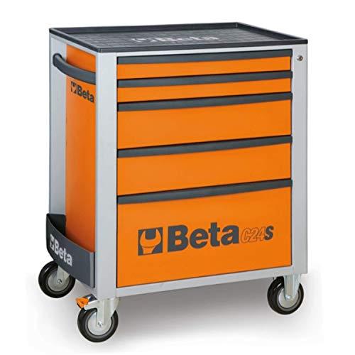 Beta C24S/5 Werkzeugwagen mit fünf Schubladen, Werkzeugschrank, (Schubladenschrank für Werkzeug, Thermokunststoff-Arbeitsplatte, Zentralverriegelung mit Sicherheitsschloss, Gewicht: 52 kg), Orange