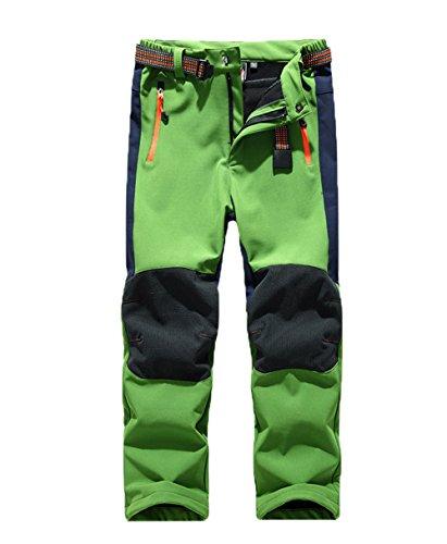 GGBaby [Kinder Softshellhose mit Fleecefütterung] Hose Wasserabweisend Winddicht Atmungsaktiv Warm Funktionshose Skihose Regenhose Jungen Mädchen Sporthose Wanderhose Grün M