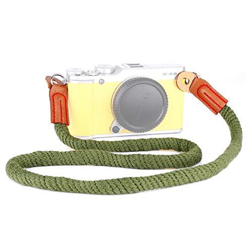NMYANXU Vintage katoenen zachte schouderriem voor Leica, Nikon, Fuji, Canon, Panasonic, Sony enz. Mini Camera's (Leger Groen), Leger Groen