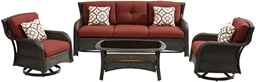 Hanover STRATH4PCSW-S-RED Strathmere 4 Piece Lounge Set, Crimson Red Outdoor Furniture