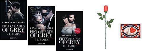 Fifty Shades of Grey Trilogie Band 1-3 im Set 1. Geheimes Verlangen & 2. Gefährliche Liebe & 3. Befreite Lust & 4. Matchbox Puzzle - Herzensbrecher 5. Rote Rose