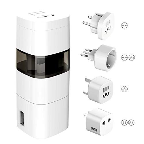 E-KIA Enchufe Universal Adaptador Europeo,con Convertidor De Viaje Multinacional con ConexióN A Tierra USB, Convertidor De Enchufe EstáNdar Nacional Estadounidense