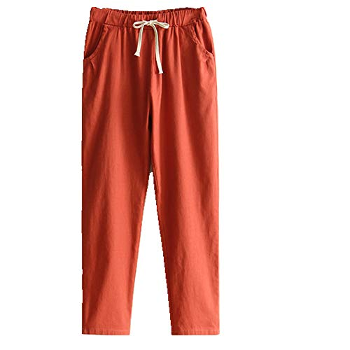U/A Casual Mujeres Más Tamaño Retro Lápiz Pantalones Mujer Cintura Elástica Pantalones Sueltos