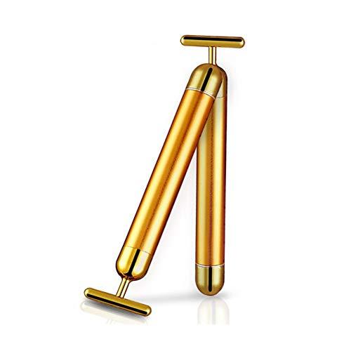Anti Aging Antifalten Massagegerät, 24 karat Golden Face Roller Massager Wasserdichte 3D Roller Elektrische Sonic Energy und T Form Gesichtsmassage Stick