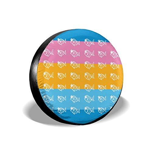 N\A Lindo patrón de pez Cubierta de neumático de Rueda de Repuesto Impermeable a Prueba de Polvo Universal para Jeep, Remolque, RV, SUV y Muchos vehículos