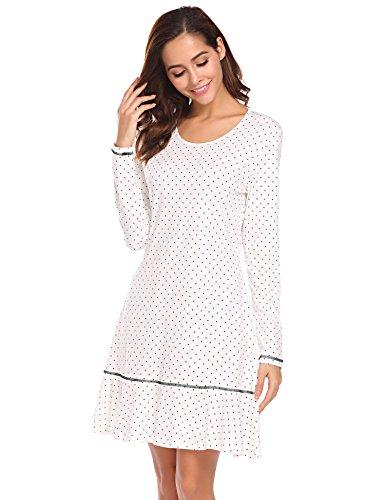 Nachthemd Damen Langarm Baumwolle Schlafanzug Lang Nachtkleider mit Punktmuster Dekoration Knielang Nachtwäsche lang, Weiß 8725, XL(EU46-48)