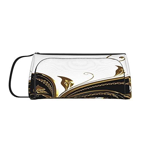 Estuche para lápices de seda con diseño de flor de oro negro, organizador de oficina para estudiantes, adolescentes, niñas y adultos