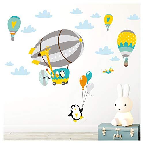 Little Deco DL364 - Adhesivo decorativo para habitación infantil (112 x 59 cm), diseño de jirafa en el zeppelin con globos, color amarillo y verde