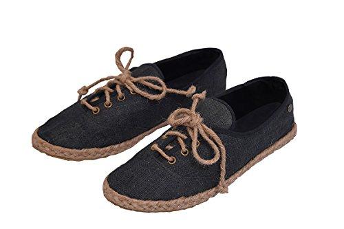 virblatt Hemp Loafers lace-up Shoes Women Espadrille Summer Sandals -Barfuß s Damen 39 Black