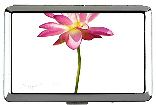 Yanteng Pink Lotus Zigarettenetui Box-Ausschnitt Zigarettenschachtel Metall Silber Für 14 Zigaretten