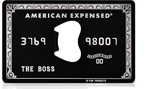 Fun Products Stainless Steel American Expensed Black Credit Card Bottle Opener