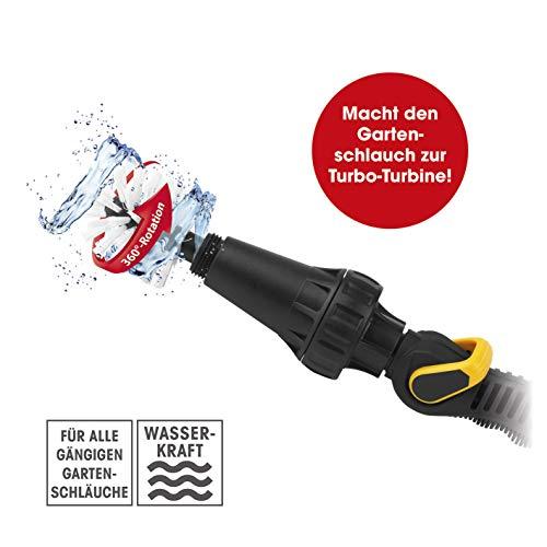 EASYmaxx 06812 Reinigungsbürste | 360° Rotation durch Wasserdruck | Anschluss an Gartenschlauch, Adapter inklusive | schwarz