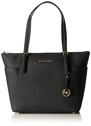"Saffiano leather; Gold-tone Hardware Double handles with 7-1/2"" drop Exterior features 18k gold-plated hardware, signature lettering, hanging logo medallion and two side pockets Measures 16"" W x 11-1/2"" H x 5-1/2"" D Top zip closure; Polyester lining"