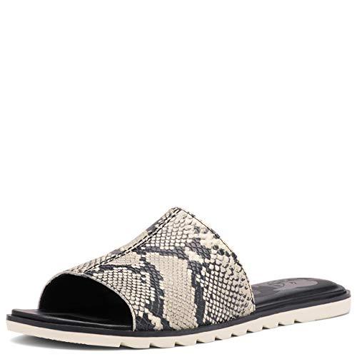 Sorel Ella II Block Slide Sandals for Women - Black, Snake - Size 11