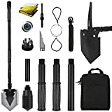 Yeacool Camping Shovel 38 inch, Folding Shovel, with Pickaxe, Survival Tactical Multitool, Military Compact Tool, 180 Degree Portable Spade for Off-Roading, Backpacking, Hiking, Car Emergency