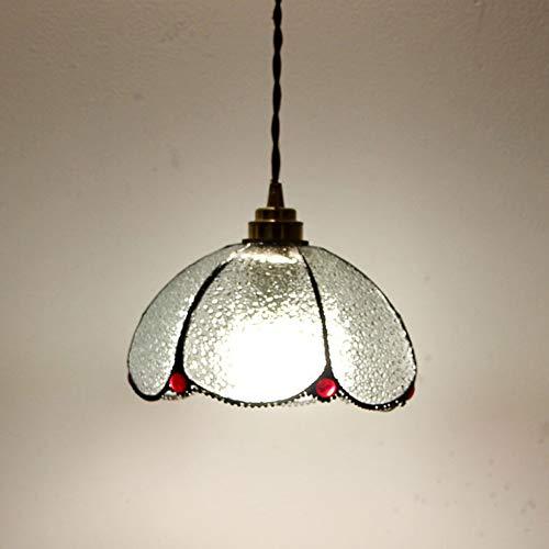 Crayom Lámpara Colgante de Sombra de Vidrio de Colgante de Cobre Antiguo nórdico con E27 Edison Light Suspension Lighting Luces de Cocina Luces de Interior Lámpara de Techo Lámpara de Techo