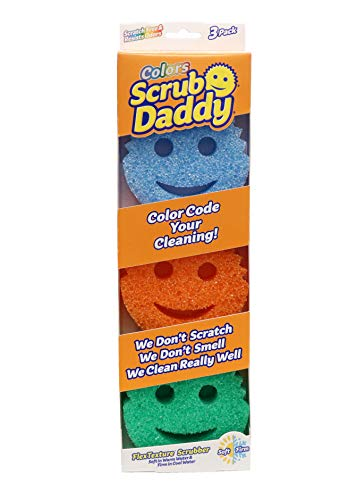 Scrub Daddy Sponge Set - Colors - Scratch-Free Sponges for Dishes and Home, Odor Resistant, Soft in Warm Water, Firm in Cold, Deep Cleaning, Dishwasher Safe, Multi-use, Functional, Ergonomic, 3ct
