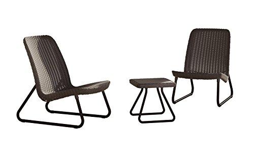 Keter 17197637 Lounge Set Rio, Rattanoptik, Kunststoff, braun, 77.5 x 76 x 54 cm