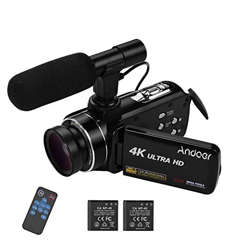 Andoer 4K Digital Video Camera Handheld DV, 3inch IPS Monitor 18X Camcorder with 0.45X Wide Angle Lens Microphone Hot Shoe Mount Burst Shooting Anti-Shaking Function, 2 Batteries
